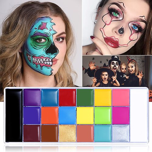UCANBE 20 Colors Face Body Painting Oil Safe Kids Flash Tattoo Painting Art Halloween Party Makeup Fancy Dress Makeup Palette