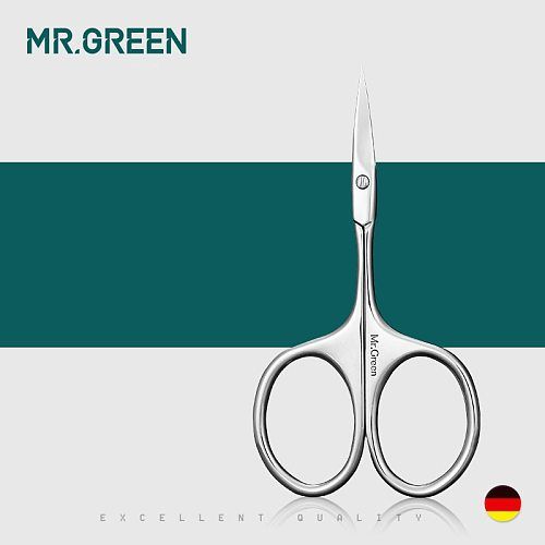 MR.GREEN Manicure Precision Professional Stainless Steel  Eyebrow Eyelash Hair Remover Trimme Tool  Eyebrow Scissors Curved Blad