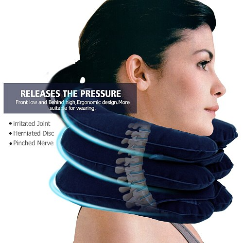 Inflatable Air Cervical Neck Traction Device Pain Stress Relief Neck Stretcher Support Cushion Tractor Support Massage Pillow