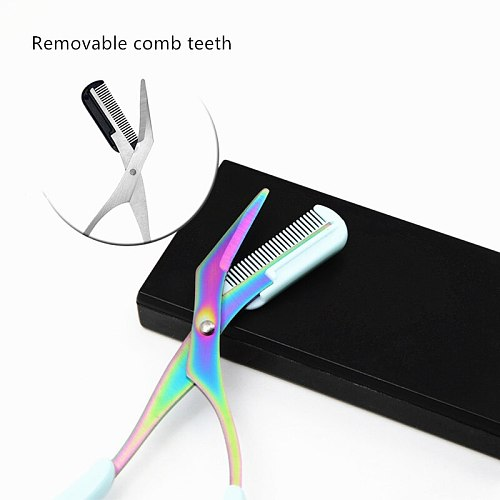 Eyebrow Trimmer Scissors Stainless Steel Washable Shaver With Comb Removable Eyelash Hair Remover Shaver Cutter Color Titanium
