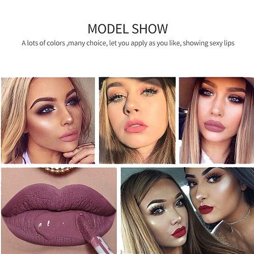 Qibest Waterproof Liquid Lip Gloss Metallic Matte Lipstick For Lips Cosmetic Sexy Batom Mate Lip Tint Makeup Lasting Lipgloss