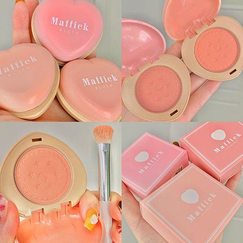 1Pcs Love Shaped Blush Waterproof Sweat-proof Blusher Natural Monochrome Blush Palette Long-lasting Face Makeup Maquillage TSLM2