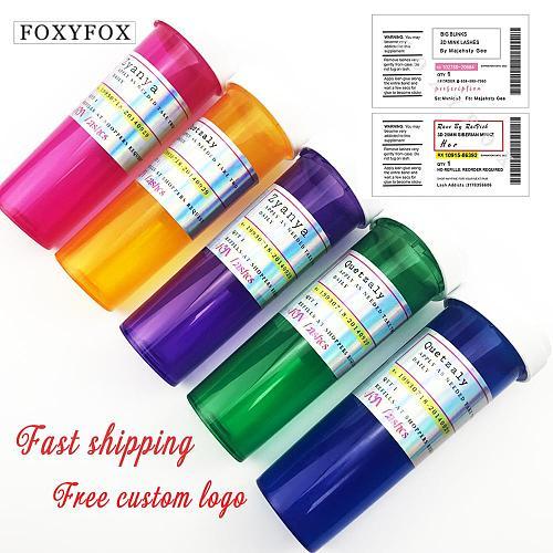 FOXYFOX wholesale Custom Pill bottle Eyelash Packaging Box Custom Logo Fake 3d Mink eyelashes Boxes Free Custom lashes Label