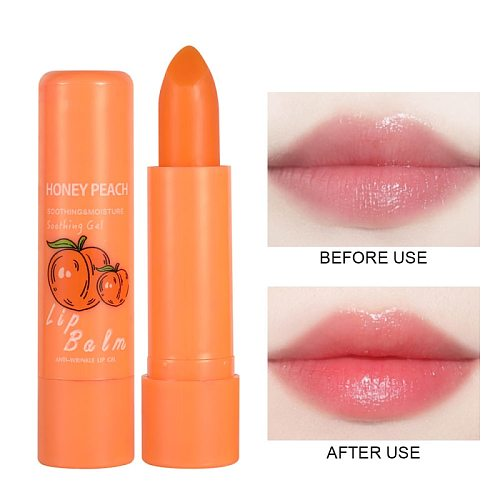 1PC Peach Jelly Lipstick Natural Temperature Change Color Lip Balm Lasting Moisturizing Portable Lip Gloss Nutritious Lips TSLM2