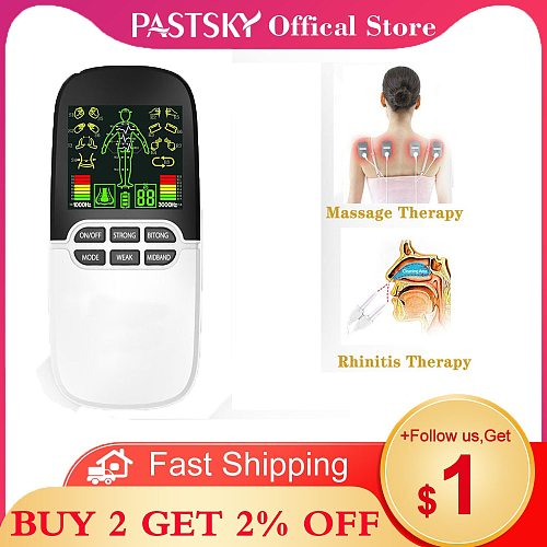 2 in 1 Rhinitis Treatment Acupoint Stimulator Nose Sinusitis Allergy Laser Therapy Electric Tens Massager with Electrode Pads