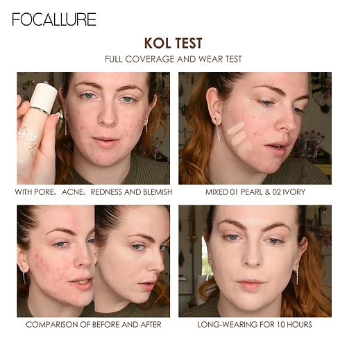 FOCALLURE Foundation Base Cream Cosmetics For Face Concealer Coverage Women Waterproof Facial Professional Makeup Primer