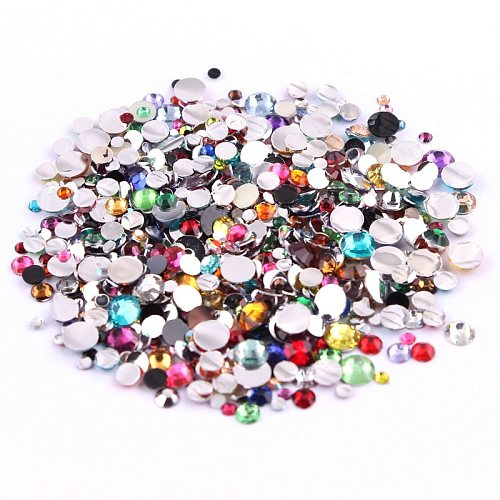 1000pcs 2,3,4,5mm Resin Rhinestone Mix Color And Size Round Flatback Glue On Stones For DIY Nail Art