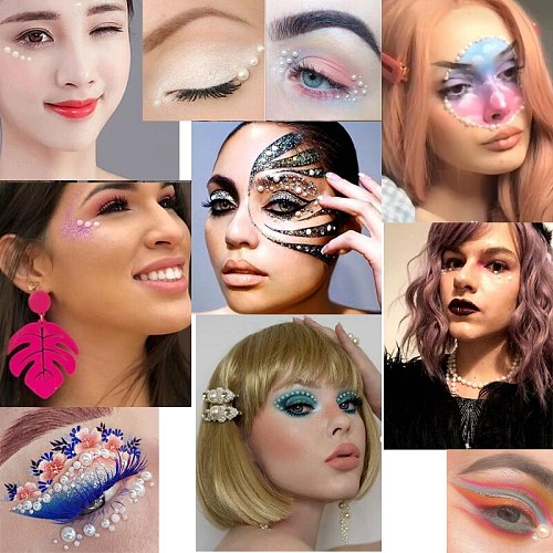4.5mm 3D Eyes Body Face Temporary Tattoo DIY Nail Art Decorations Pearl Stickers For Women Party Makeup Festival Accessory
