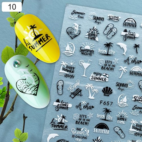 1Pc Spring Summer Tropical Beach 3D Nail Sticker Holographics Geometric Leaves Nail Transfer Decals Slider Decoration Manicures