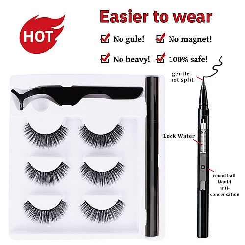 3pairs Self-adhesive Eyeliner Pen Lashes Set Quickdrying No Magnetic Eyelashes Extension Wholesale Faux Cils Natural Makeup Tool