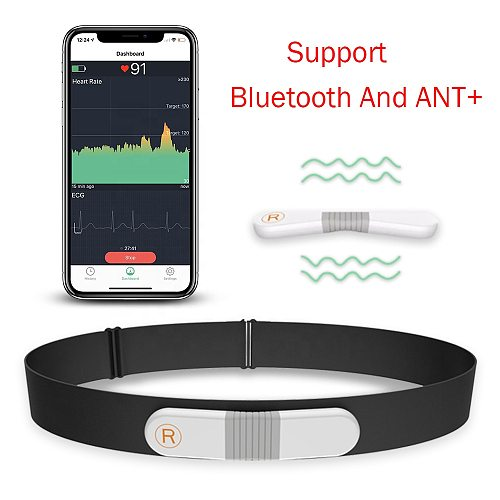 ANT+ Bluetooth Strap-Free Heart Rate Monitor Wearable Wireless ECG Machine Vibration Alarm Wireless Heart Monitoring For Sport