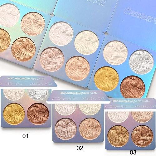 4 Colors Highlighter Powder Palette Contouring Makeup Bronzer Makeup Brightener Facial Highlight Shimmer