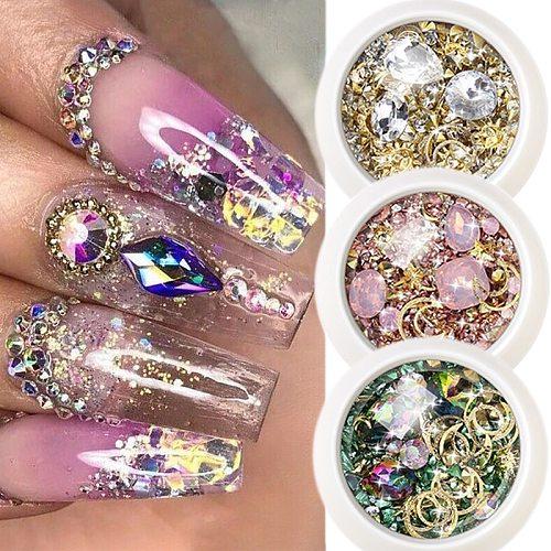 1 Box Crystal Nails Rhinestones Metal Rivet Shiny Gems Stones 3D DIY Tips Charm Nail Art Decorations Design Manicure Diamonds