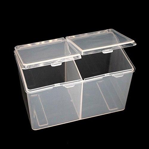 Double Grids Transparent Cotton Sheet Container Storage Case Makeup Organizer Make-up Cotton Pad Box Cotton swab Box