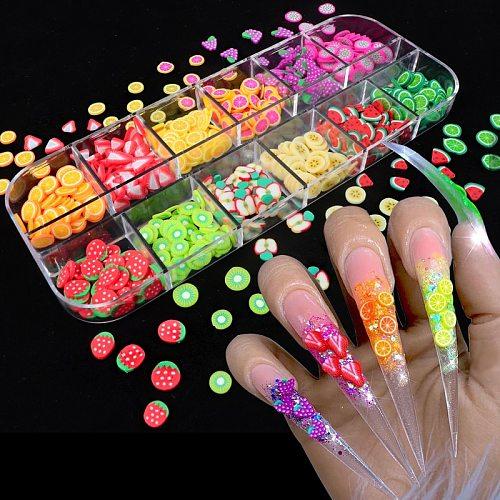 Nail Art 3D Fruit DIY Design Tiny Slices Decoration Acrylic Beauty Polymer Clay Nail Sticker Accessory