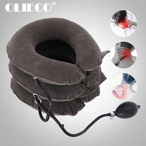 OLIECO Pain Relief Cervical Neck Traction Device Inflatable Air Neck Stretcher Soft Neck Posture Correction Collar Brace Support