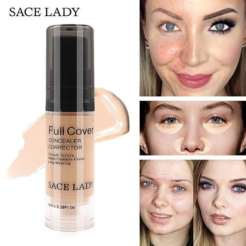 SACE LADY 8 Colors Full Cover Liquid Concealer Makeup 6ml Eye Dark Circles Cream Face Corrector Waterproof Make Up Base Cosmetic