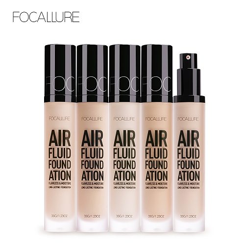 FOCALLURE New AIR FLUID FOUNDATION Moisturizing Natural Foundation Base Long Lasting Waterproof Women Makeup