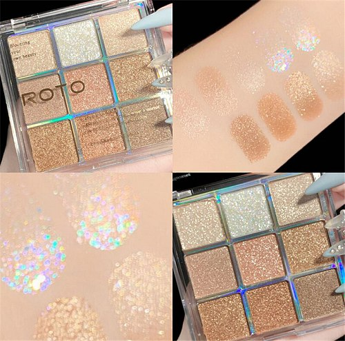 9 colors Nude Matte Eyeshadow Pallete Long lasting Glitter Eye Pigments Shimmer and Shine Glitter Bomb Eyeshadow Makeup Palette