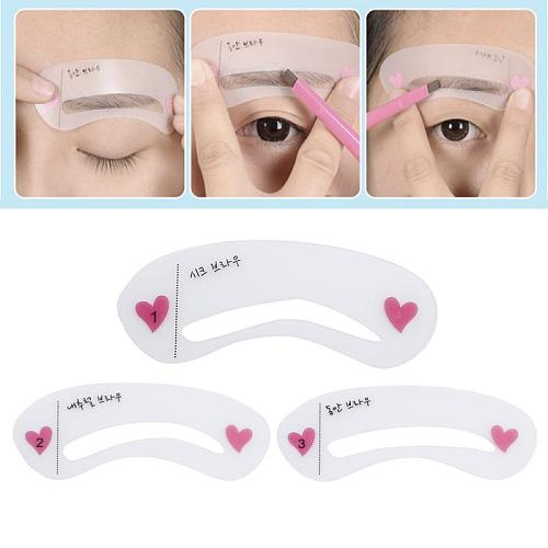 3 pcs Pro Reusable Eyebrow Stencil Set Eye Brow DIY Drawing Guide Styling Shapin PVC Eyebrow Stencil makeup tools free ship