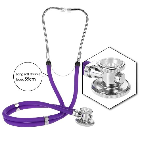 Professional Medical Stethoscope Phonendoscope Double Dual Head Colorful Multifunctional Stethoscope Health Care Purple