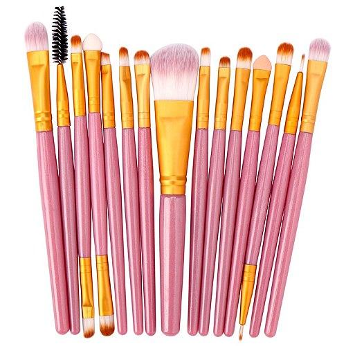 Lemoda Makeup Brushes Set 15pcs Eyebrow Highlighter Powder Foundation Eye Shadow Brush Cosmetics Professional Makeup Brush