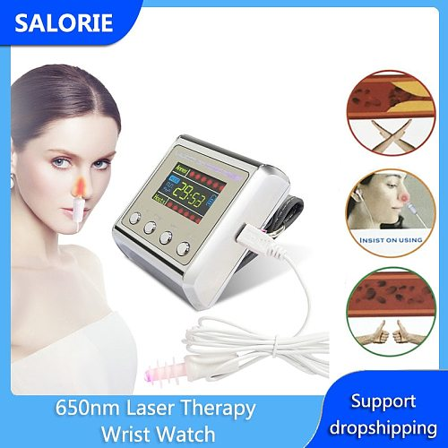 650nm Laser LLLT Diabetes Treatment Rhinitis Cholesterol Hypertension Cerebral Thrombosis Physiotherapy Apparatus Therapy Watch