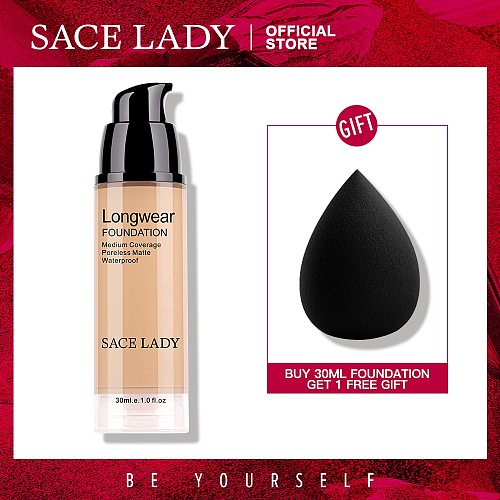 SACE LADY Face Liquid Foundation Base Makeup Matte Finish Waterproof Make Up Full Coverage Cream Natural Cosmetic Wholesale