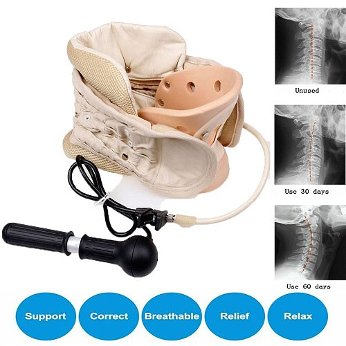 Neck Support Air Inflatable Cervical Traction Device Collar Massager Spine Correction Therapy Adjustable Stretcher Stretching