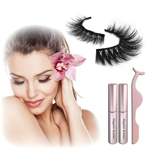 2 Magnetic Liquid Eyeliner+5 Magnetic False Eyelashes Easy To Wear Lashes Sets,Comes With An Applicator, No Glue Needed