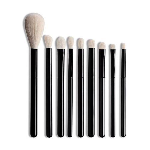 OVW 9pcs White Goat Hair Makeup Eye Shadow Blending Brushes Set Highlight Blusher Black Handle Portable Travel Crease Shader