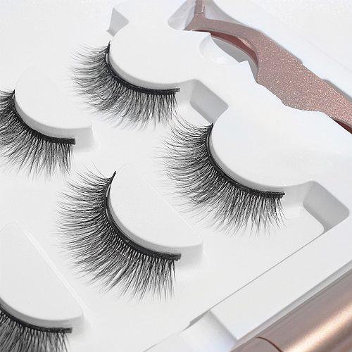 Magnetic Eyelashes 3 pairs Waterproof Eyelashes Magnetic False Eyelashes & Magnet Lashes Magnetic Liquid Eyeliner& Tweezer Set