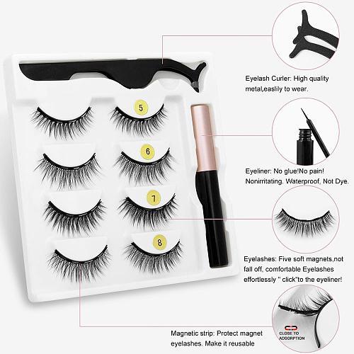 Magnetic Eyelashes 3D Mink Eyelashes Magnetic Eyeliner Magnetic Lashes Short False Lashes Lasting Handmade Eyelash Makeup Tool