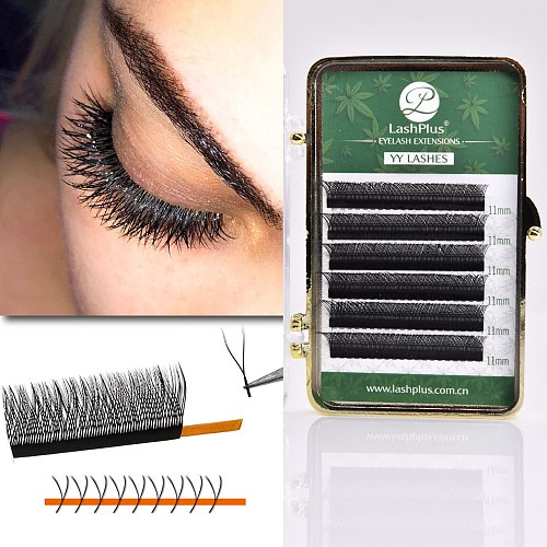 LASHPLUS YY Shape Black 6 lines premade fans Eyelashes Extensions Two Tip Lashes High Quality Eyelashes