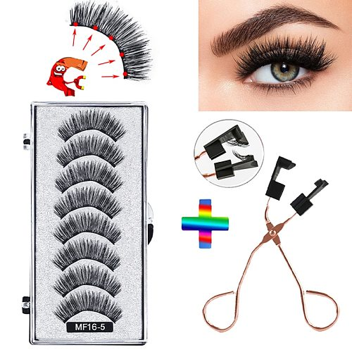 8 pcs/2 pairs magnetic eyelashes with 5 magnets, reusable handmade 3D mink false eyelashes natural with magnetic tweezers