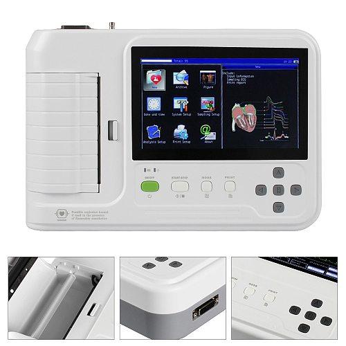 ECG600G Digital Electrocardiograph 6 channel 12 lead Touch Screen EKG ECG Machine with Software Printer