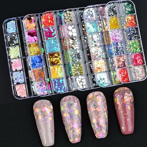 12 Grids Charm 3D Nail Flakes Butterfly Shape Laser Glitter Sequins Holographic Nail Art Decorations Manicure DIY Tips