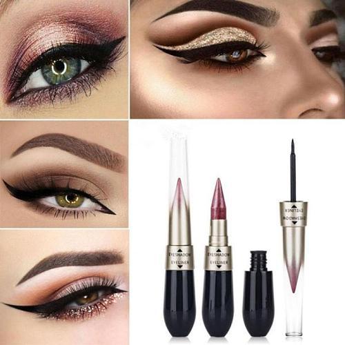 2 in 1 Eyeshadow Eyeliner Liquid Pen Double-end Eye Liner Pencil Eye Shadow Waterproof Long-Lasting Eye Makeup Tool TSLM1