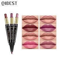 QIBEST 2 In 1 Matte Lipstick Lip Liner Nude Lipliner Makeup Waterproof Lipstick Pen Long Lasting Lip Pencil Makeup Lips Cosmetic