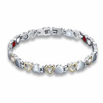 Heart Shape Health Magnetic Bracelet For Women  Anti-radiation Care Stainless Steel Bracelets & Bangles with Health Germanium