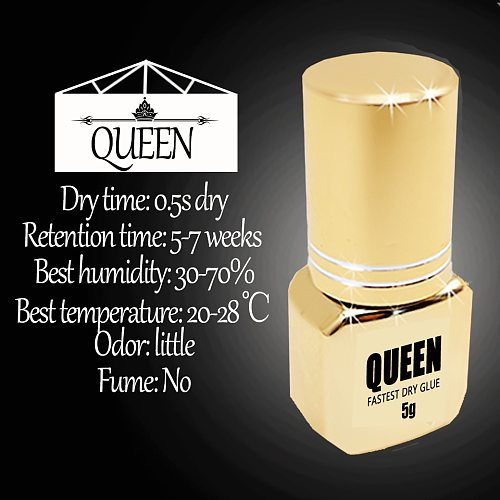 Glesum New Style Super Quality 0.5s Dry Queen Glue Latex Free And Low Irritate Gold Bottle Eyelash Extension Make Up Adhesive