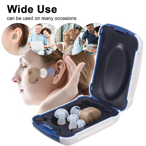 Hearing Aid for The Elderly Audifonos & Storage Case Portable Sound Amplifier Battery Powered In Ear Hearing Enhancement Device