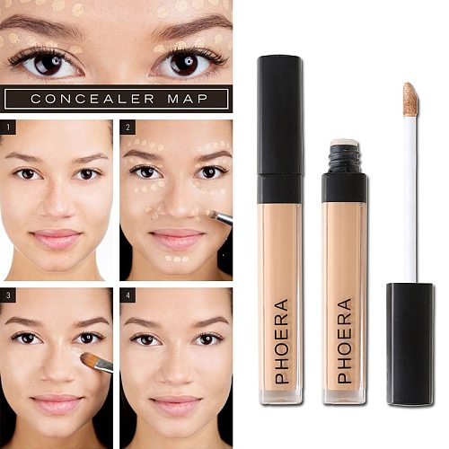 PHOERA Liquid Concealer Foundation Cream Smooth Makeup Face Eyes Moisturizing Cosmetic Long Lasting Scars Acne Cover TSLM1