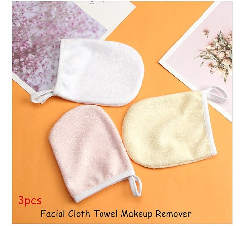 3pcs Facial Cloth Towel Clear Makeup Remover Gloves Beauty Reusable Face Towels Cleaning Glove Face Washing Clean Make Up Tools