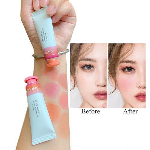 AIGOMC Makeup Liquid Blusher Sleek Silky Blush Lasts Long 6 Color Natural Cheek Blush Face Contour Make Up