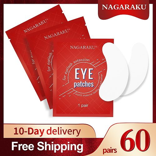 NAGARAKU Eyelash Extension Eyepads Under Eyepads Gel Eyepads Hydrogel Eyepach 60 Pairs Pack Makeup Tools Adhesive
