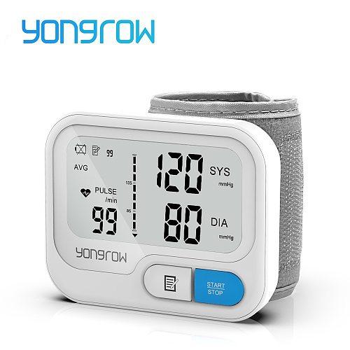 Yongrow Tonometer Automatic Wrist Digital Blood Pressure Monitor Digital lcd Sphgmomanometer Heart Rate Pulse Meter BP Monitor