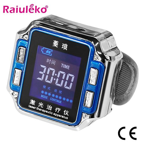 650nm Laser Therapy Watch Sinusitis Wrist Watch Diode LLLT For Cholesterol Hypertension Treatment Diabetic Therapy Instrument