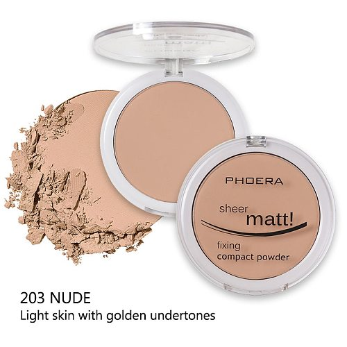 PHOERA 8 Colors Concealer Foundation Natural Long Lasting Whitening Hydrating Oil Control Matte Blush Rouge Pressed Powder TSLM1