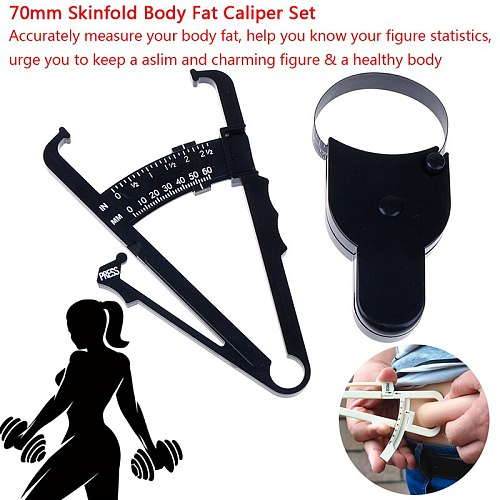 70mm Body Fat Tester Skinfold Body Fat Caliper Set Body Skinfold Measurement Tool with Measure Tape Body Fat Monitors